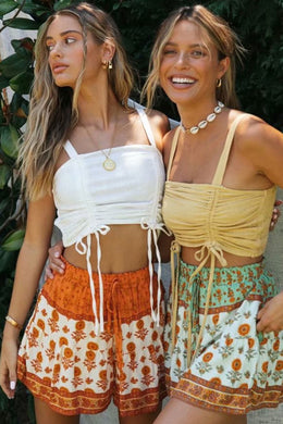 Boho Pant, Short,  Abigail in Green and Orange