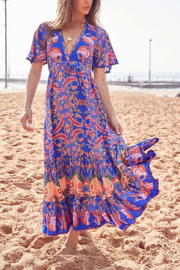 Maxi Dress, Boho Dress, Gown, Island Bird in Blue