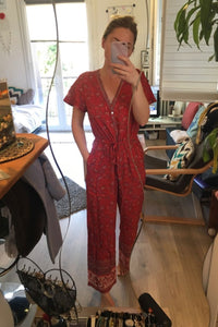 Boho Jumpsuit, Pantsuit, Maritima in Savanna Ivory and Cherry Red