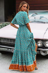 Maxi Dress, Boho Dress, Poppin in Green