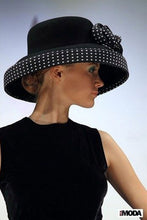 Load image into Gallery viewer, Boho Hat, Wool Wide Brim Hat, Floppy Vintage Hat, Audrey Black