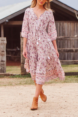 Midi Dress, Boho Dress, Sundress, Wild Floral in Mauve