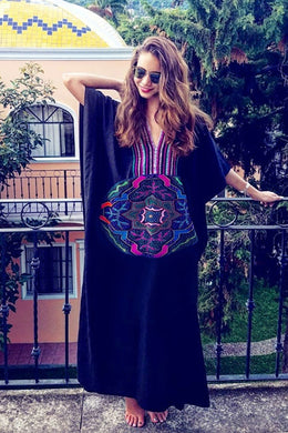 Maxi Boho Dress, Beach Dress, Embroidered Dress, Tribal Black