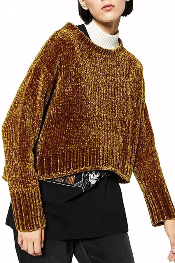 Boho Sweater, Knitted, Olivia in Caramel Brown and Moss