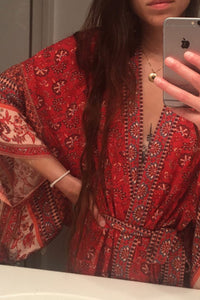 Boho Robe, Kimono Robe, Maritima in Cherry Red