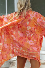Load image into Gallery viewer, Boho Robe, Kimono Robe, Wild Floral Tangerine