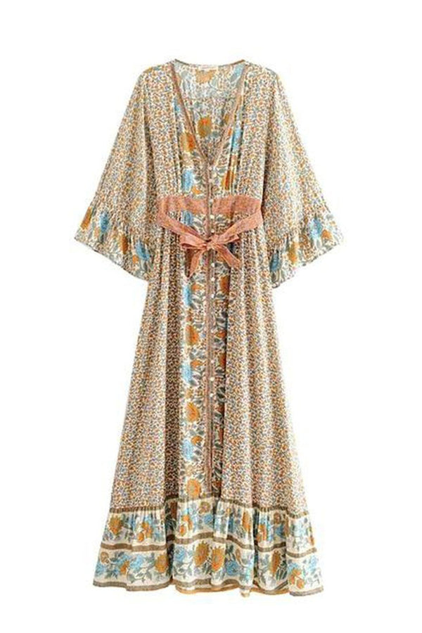 Maxi Dress, Boho Dress, Oracle Kimono in Dusty Green