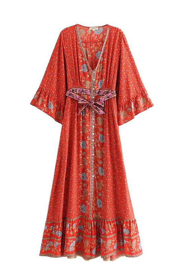 Maxi Dress, Boho Dress, Oracle Kimono in Red