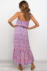 Midi Dress, Boho Dress, Strappy, Wild Floral in Pink
