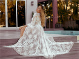 Boho Robe, Lace Gown Robe, Sexy Lingerie Robes, Sofia Robe in White