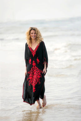 Maxi Boho Dress, Beach Dress,  Kaftan, Embroidered Dress,, Black Floral