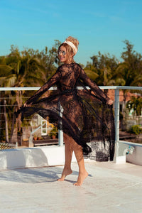 Boho Robe, Lace Gown Robe, Sexy Lingerie Robes, Sofia Robe in Black