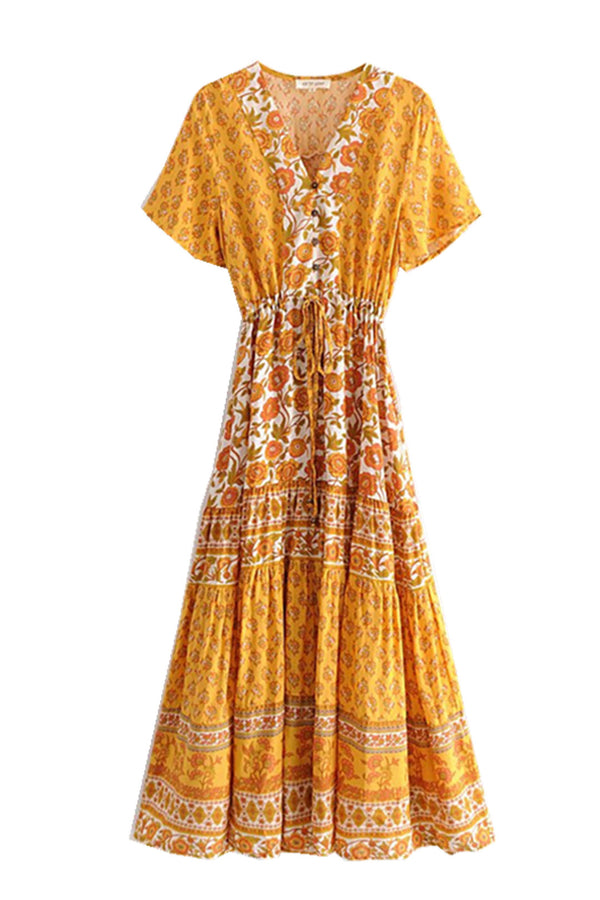 Maxi Dress, Boho Dress, Prickly Pear  in Saffron  Yellow