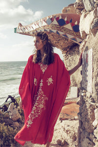 Maxi Boho Dress, Beach Dress,  Kaftan, Embroidered Dress, Red Floral
