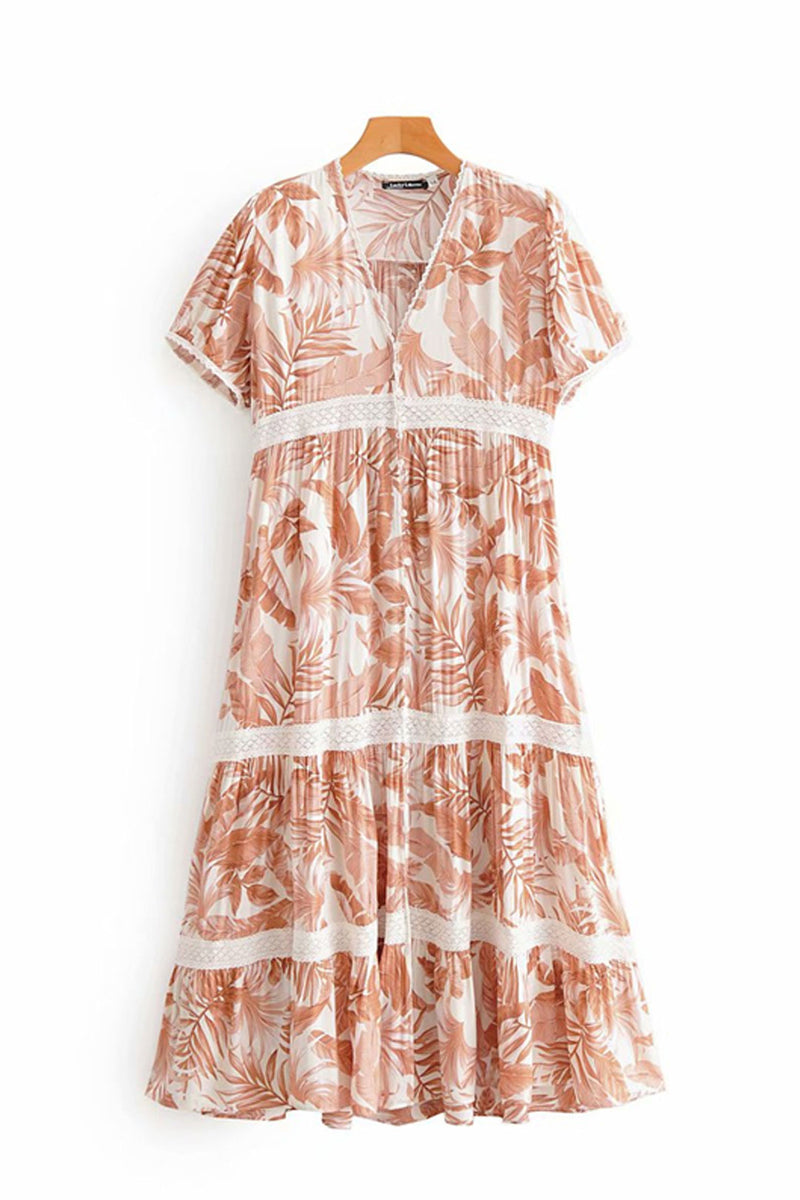 Midi Dress, Boho Dress, Tropical Forest in Dry Leave
