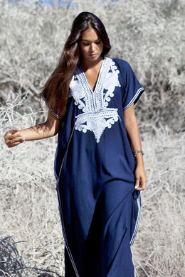 Maxi Boho Dress, Beach Dress,  Kaftan, Embroidered Dress, Navy Floral