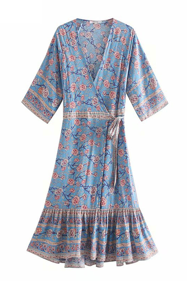 Maxi Dress, Boho Dress, Wrap Dress, Scilla in Blue