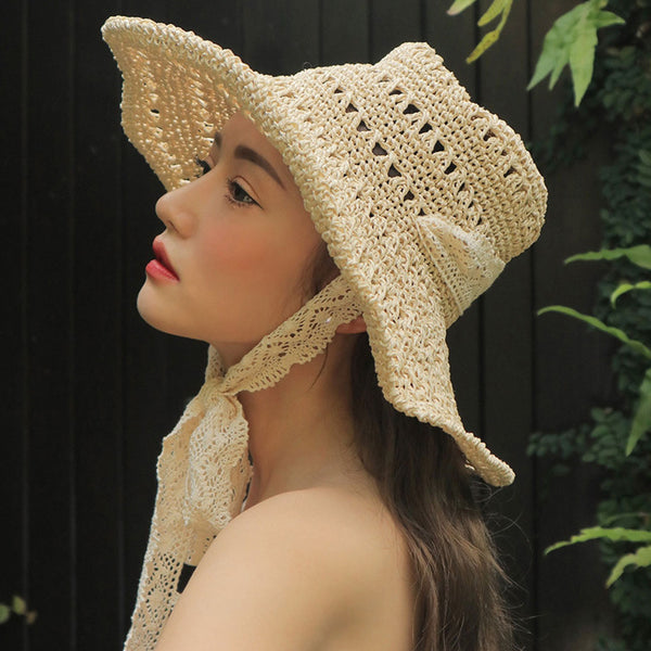 Boho Hat, Sun Hat, Beach Hat,  Staw Paper Hat in Vanilla and Coffee Brown