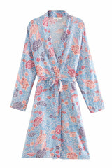 Boho Robe, Cardigan, Duster, Bali Flower in Blue Sea