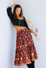 Load image into Gallery viewer, Boho Skirt, Midi Skirt,  Bella Rose in Midnight