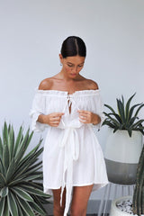 Mini Dress, Boho Dress,  Off Shoulder White Cloud