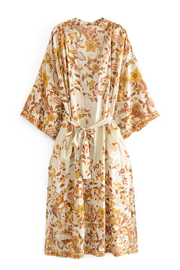 Boho Robe, Kimono Robe, Dusty Rosewood in Gold