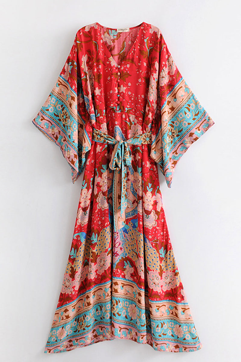 Boho Robe, Kimono Robe, Wild Flower Kelly Red