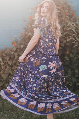 Maxi Dress, Boho Dress, Gown, Wild Bloom in Navy