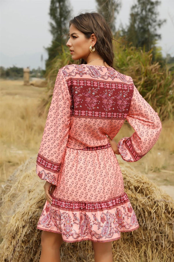Boho Blouse, Statice in Cherry Pink