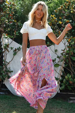 Boho Skirt, Maxi Skirt, Wild Floral in Pink