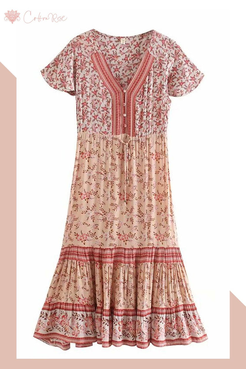 Maxi Dress, Boho Dress, Sundress, Cora in Sweet Pink