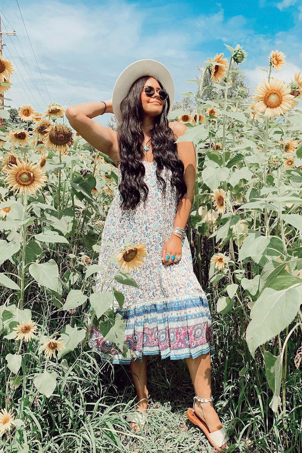 Midi Dress, Boho Dress, Strappy, Pansy in Blue Sky and Berry