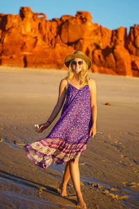 Midi Dress, Boho Dress, Strappy, Aurora Dahlia in Purple