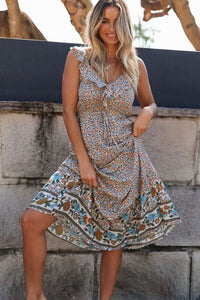 Midi Dress, Boho Dress, Wild Floral Ophelia Ruffle in Dusty
