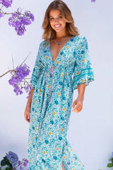 Midi Dress, Boho Dress, Gown, Anastasia in River Blue