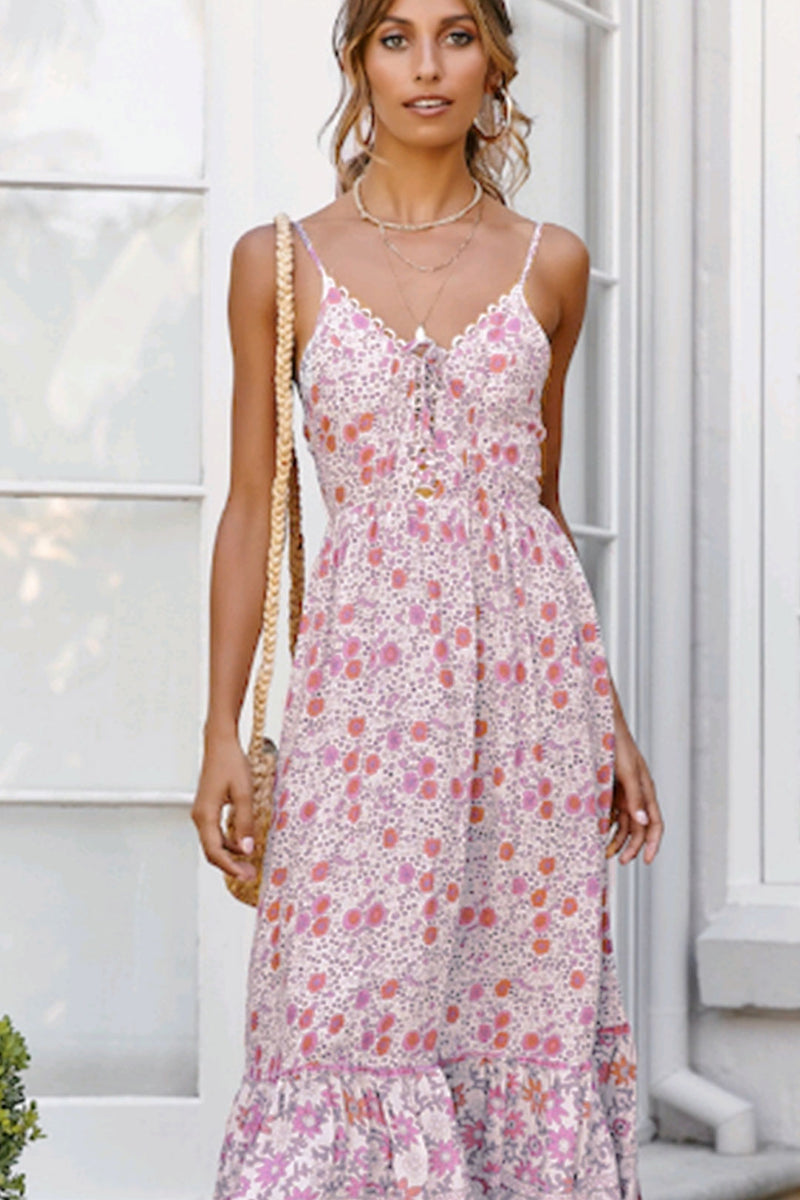 Maxi Dress, Boho Dress, Strappy, Romantic Pink