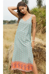 Midi Dress, Boho Dress, Strappy, Statice in Sea