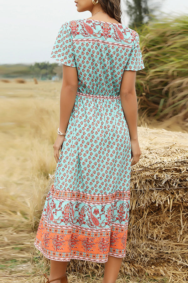 Midi Dress, Boho Dress, Sundress, Nadia in Blue Sea and Peach