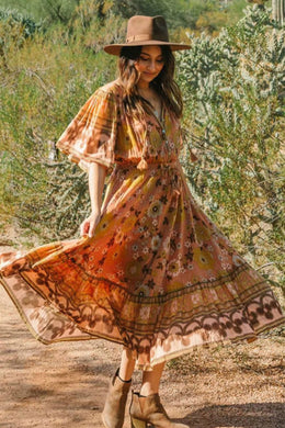 Midi Dress, Boho Dress, Sundress, Buttercup Floral in Pumpkin