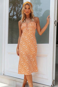 Midi Dress, Boho Dress, Strappy, Wild Floral Daisy in Saffron