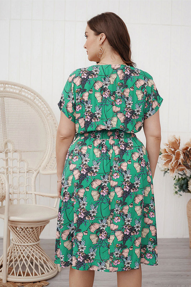 Plus Size Bohemian Dress, Tulip in Forest Green