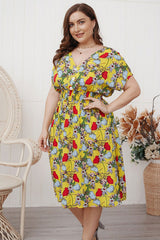 Plus Size Bohemian Dress, Tulip in Yellow