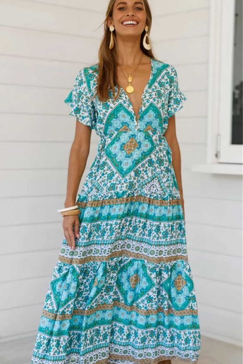Maxi Dress, Boho Dress, Sundress, Wild Floral Square Mint