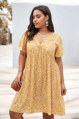 Plus Size Bohemian Dress, Little Yellow Daisy