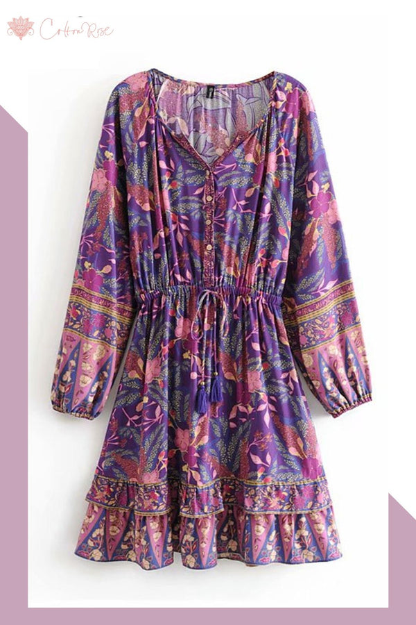 Mini Dress, Boho Dress, Playdress, Savanna in Purple and Yellow-Brown