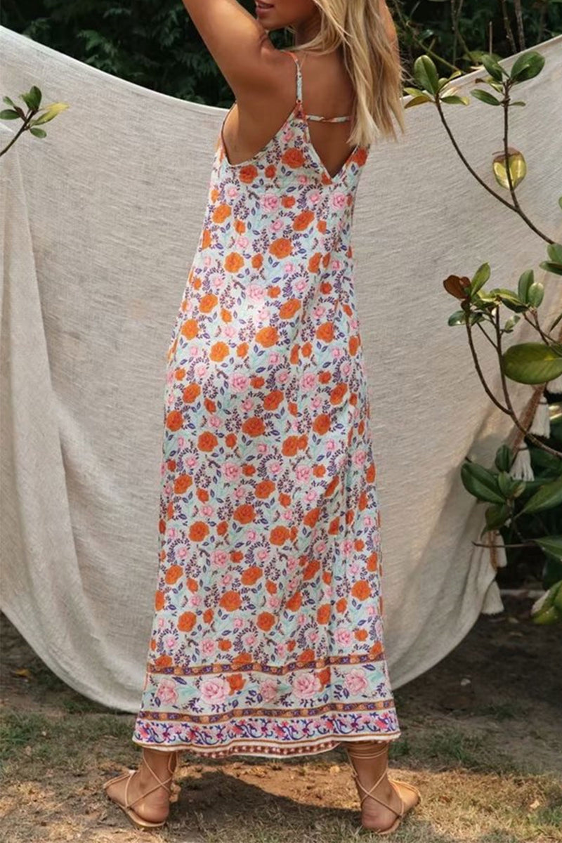 Maxi Dress, Boho Dress, Strappy, Wild Floral De Rosa in Pink Orange