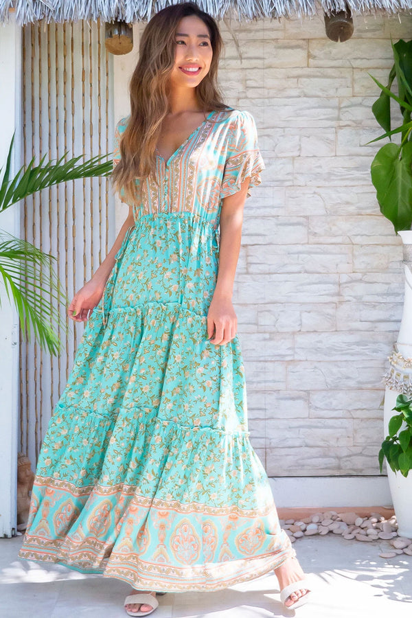 Maxi Dress, Boho Dress, Sundress, Wild Floral Gypsy in Mint