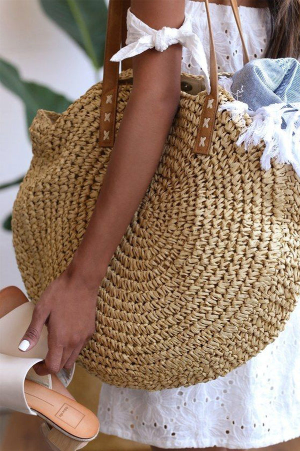 Boho Bag, Woven  Straw Rope Tote Bag, Helen (2 sizes)