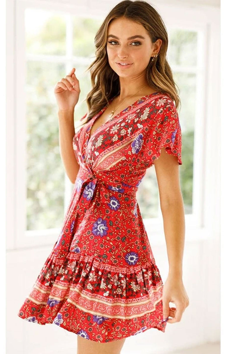 Mini Dress, Sundress, Country Girl Floral in Red