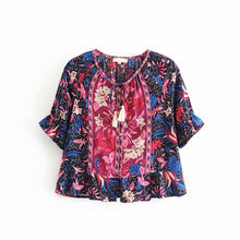 Load image into Gallery viewer, Boho Blouse, Ilona Midnight